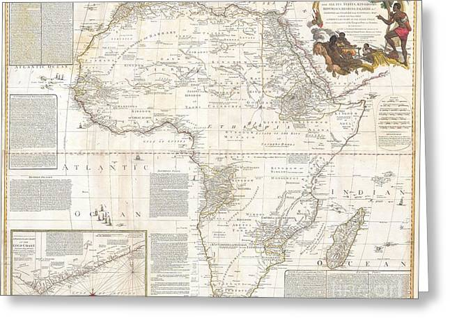Must Have Greeting Cards - 1787 Boulton  Sayer Wall Map of Africa Greeting Card by Paul Fearn