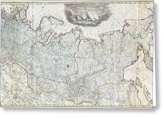 Village By The Sea Greeting Cards - 1787 Wall Map of the Russian Empire Greeting Card by Paul Fearn