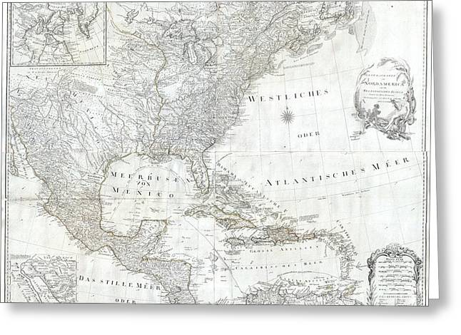Sayers Greeting Cards - 1788 Schraembl  Pownall Map of North America and the West Indies Greeting Card by Paul Fearn