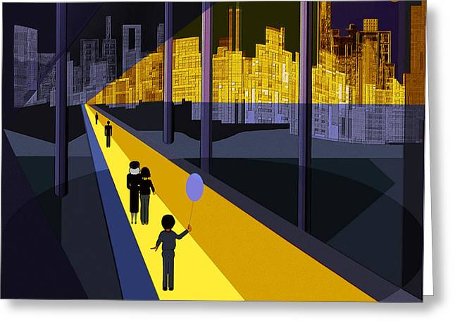 Little Boy Digital Greeting Cards - 179 - Nightwalking  to the golden city   Greeting Card by Irmgard Schoendorf Welch