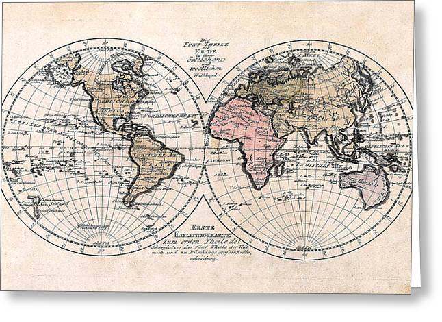 German Map Greeting Cards - 1791 Antique World Map Die Funf Theile der Erde Greeting Card by Karon Melillo DeVega