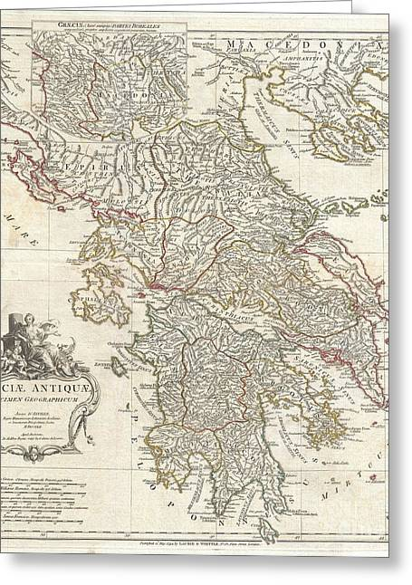 Old Roadway Greeting Cards - 1794 Anville Map of Ancient Greece  Greeting Card by Paul Fearn