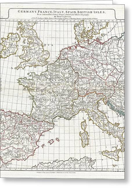 Far Above Greeting Cards - 1794 Anville Map of Europe in late Roman times Greeting Card by Paul Fearn