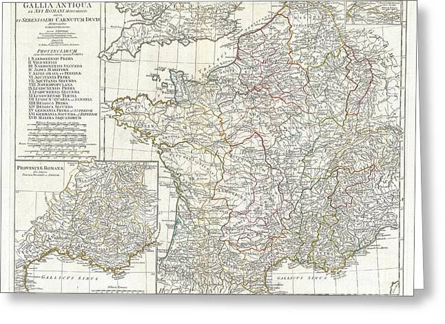Southern Province Greeting Cards - 1794 Anville Map of Gaul  or France in ancient Roman Times Greeting Card by Paul Fearn