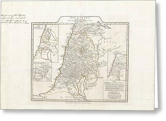 World In Between Greeting Cards - 1794 Anville Map of Israel Palestine or the Holy Land in Ancient Times Greeting Card by Paul Fearn