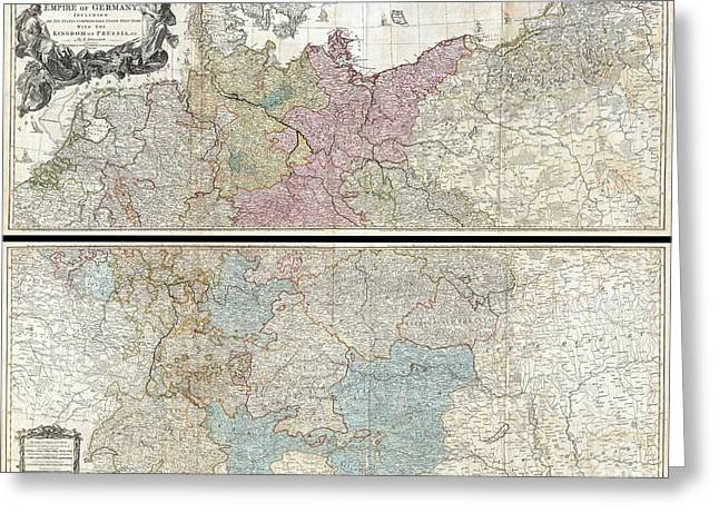 Old Roadway Greeting Cards - 1794 Delarochette Wall Map of the Empire of Germany Greeting Card by Paul Fearn