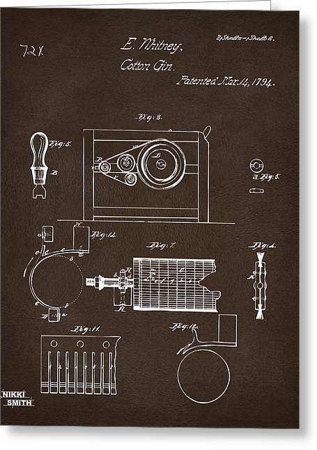 Espresso Prints Greeting Cards - 1794 Eli Whitney Cotton Gin Patent 2 Espresso Greeting Card by Nikki Marie Smith