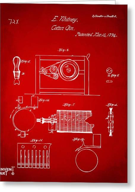 Red White And Blue Prints Greeting Cards - 1794 Eli Whitney Cotton Gin Patent 2 Red Greeting Card by Nikki Marie Smith
