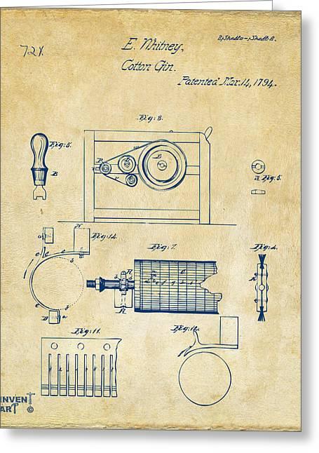 1794 Eli Whitney Cotton Gin Patent 2 Vintage Greeting Card by Nikki Marie Smith