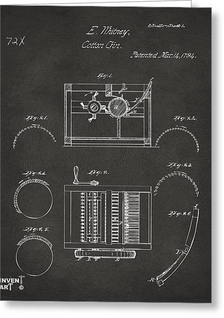 1794 Eli Whitney Cotton Gin Patent Gray Greeting Card by Nikki Marie Smith