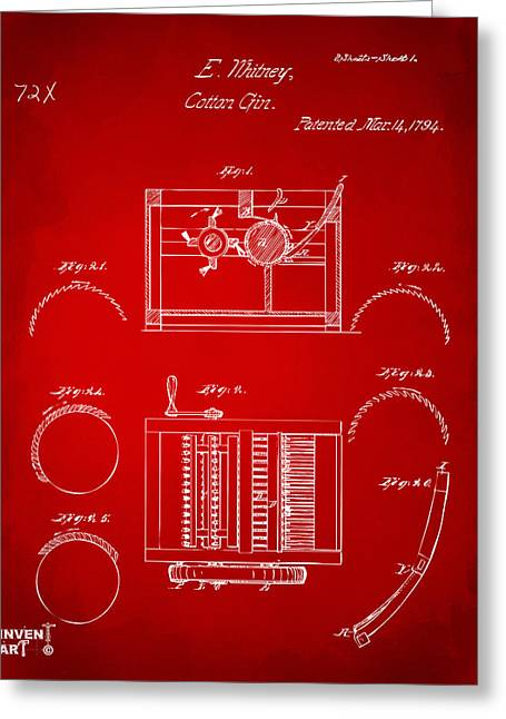 1794 Eli Whitney Cotton Gin Patent Red Greeting Card by Nikki Marie Smith