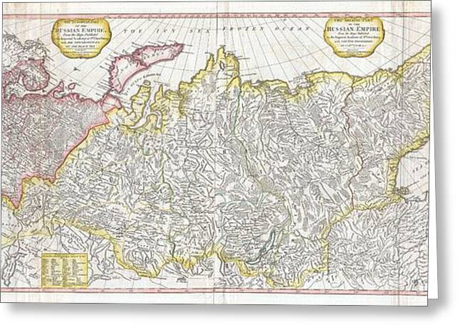 Green And Yellow Greeting Cards - 1794 Laurie and Whittle Wall Map of Russia Greeting Card by Paul Fearn