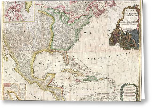 Recently Sold -  - Surveying Greeting Cards - 1794 Pownell Wall Map of North America and the West Indies Greeting Card by Paul Fearn