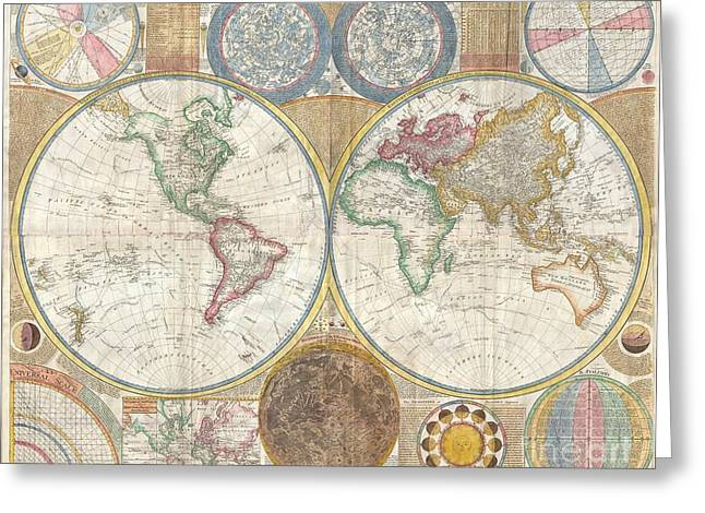 Beyond The Solar System Greeting Cards - 1794 Samuel Dunn Wall Map of the World in Hemispheres Greeting Card by Paul Fearn