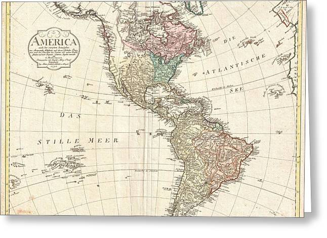 Inland Bodies Of Water Greeting Cards - 1796 Mannert Map of North America and South America Greeting Card by Paul Fearn