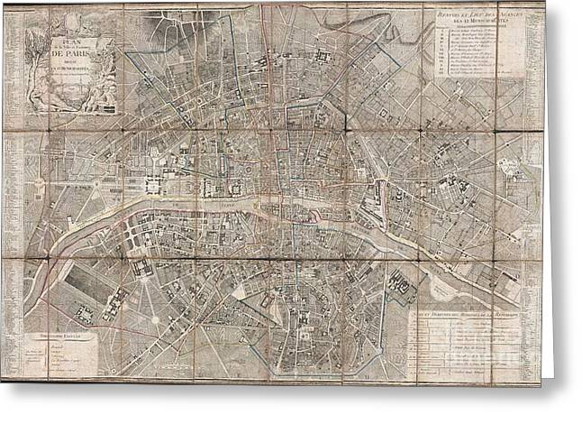 Just Cause Greeting Cards - 1797 Jean Map of Paris and the Faubourgs Greeting Card by Paul Fearn
