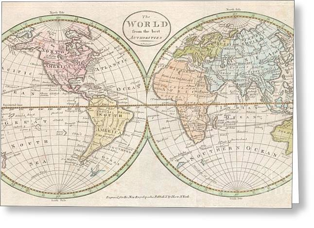 Bloat Greeting Cards - 1798 Payne Map of the World  Greeting Card by Paul Fearn