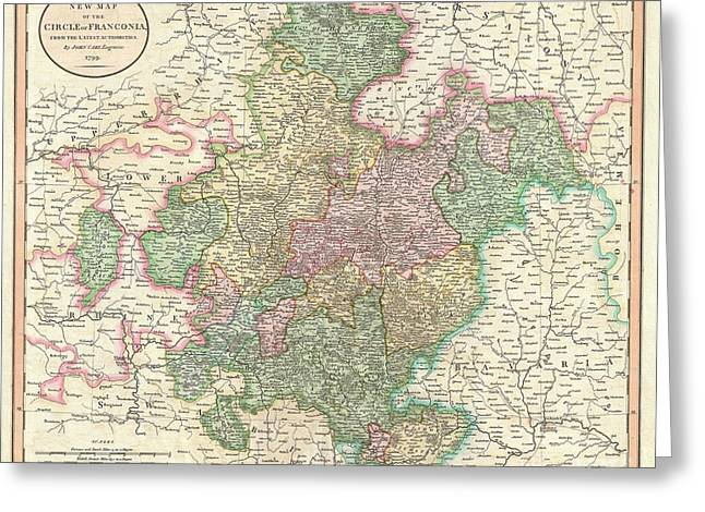 Renaissance Center Greeting Cards - 1799 Cary Map of Franconia Germany  Greeting Card by Paul Fearn