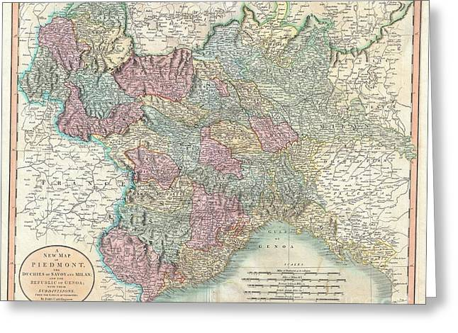 New To Vintage Greeting Cards - 1799 Cary Map of Piedmont Italy  Milan Genoa  Greeting Card by Paul Fearn