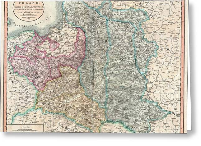 In The End I Greeting Cards - 1799 Cary Map of Poland Prussia and Lithuania  Greeting Card by Paul Fearn
