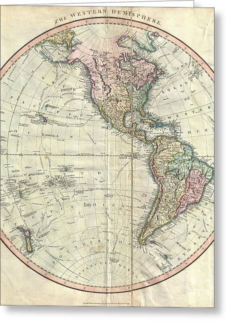Perouse Greeting Cards - 1799 Cary Map of the Western Hemisphere  Greeting Card by Paul Fearn