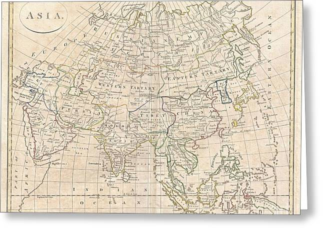 1799 Clement Cruttwell Map Of Asia Greeting Card by Paul Fearn