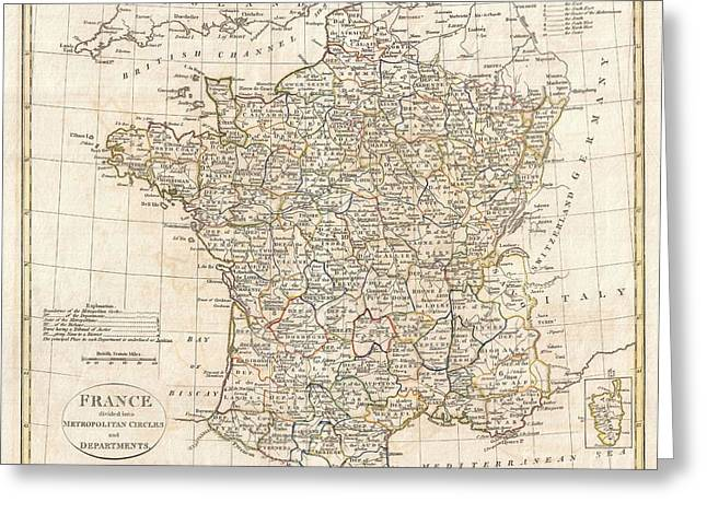 South West France Greeting Cards - 1799 Clement Cruttwell Map of France in Departments Greeting Card by Paul Fearn