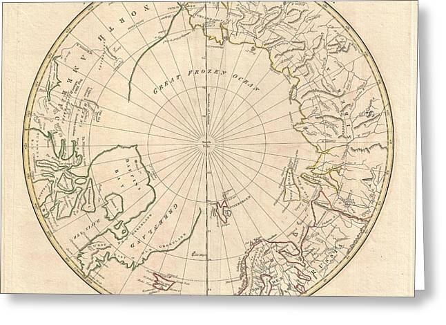 Inland Bodies Of Water Greeting Cards - 1799 Clement Cruttwell Map of North Pole Greeting Card by Paul Fearn