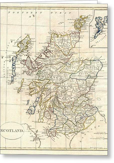 1799 Clement Cruttwell Map Of Scotland Greeting Card by Paul Fearn