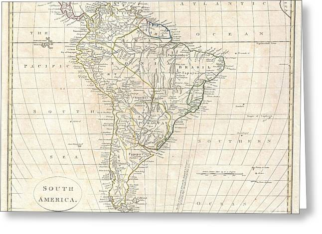 Line Of Fortification Greeting Cards - 1799 Clement Cruttwell Map of South America  Greeting Card by Paul Fearn