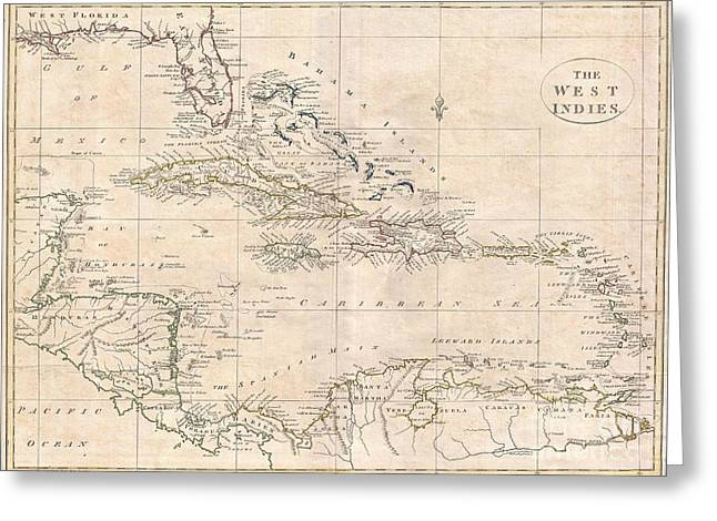 Buildings By The Sea Greeting Cards - 1799 Clement Cruttwell Map of West Indies Greeting Card by Paul Fearn
