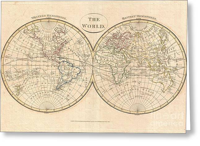 Though Blank Greeting Cards - 1799 Cruttwell Map of the World in Hemispheres Greeting Card by Paul Fearn