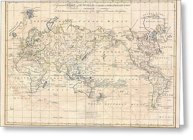 World In Between Greeting Cards - 1799 Cruttwell Map of the World on Mercators Projection Greeting Card by Paul Fearn