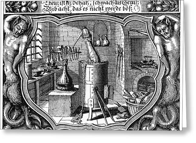 17th Century Alchemist's Laboratory Greeting Card by Cci Archives