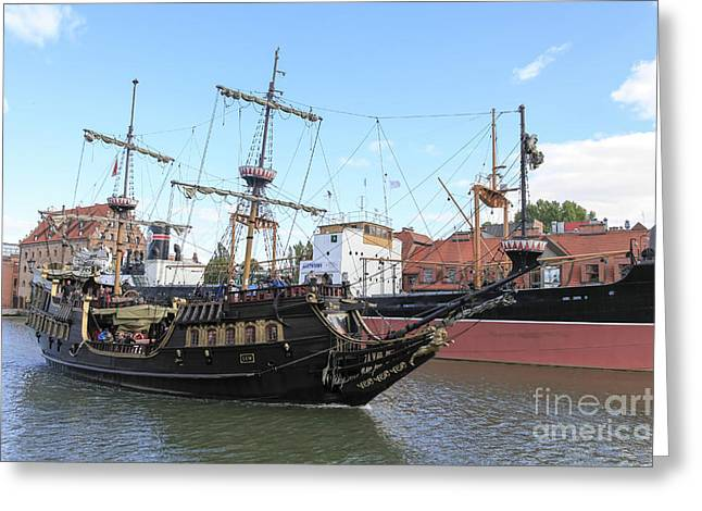 Tall Ships Greeting Cards - 17th-century Galleon Lew  Greeting Card by Vladi Alon