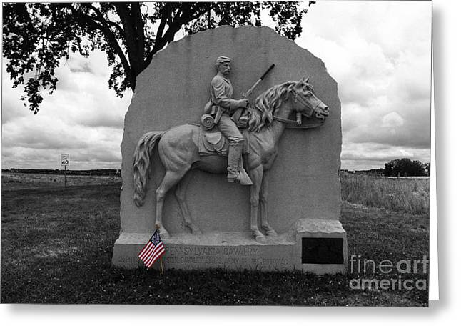 Civil War Site Greeting Cards - 17th Pennsylvania Cavalry Monument Gettysburg Greeting Card by James Brunker