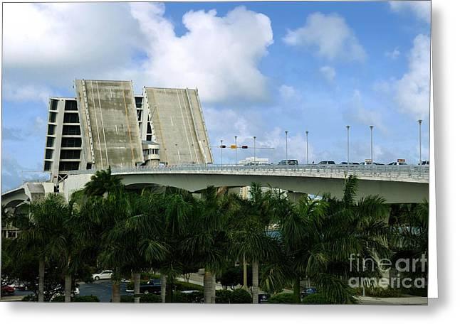Palm Tree Greeting Cards - 17th Street Causeway Drawbridge Fort Lauderdale Florida Greeting Card by Amy Cicconi