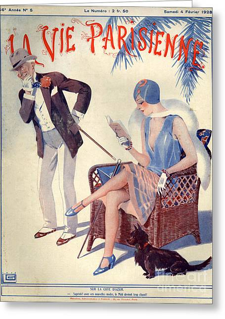 Book Cover Art Drawings Greeting Cards - 1920s France La Vie Parisienne Magazine Greeting Card by The Advertising Archives