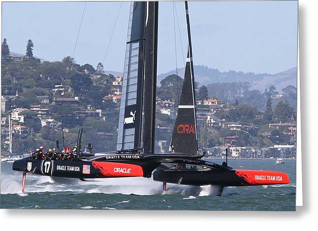 Sausalito Greeting Cards - Americas Cup Oracle Greeting Card by Steven Lapkin