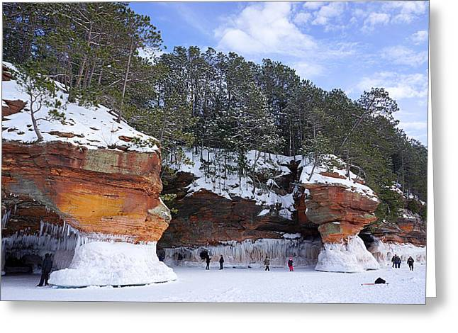 Landscape Posters Greeting Cards - Apostle Island Sea Caves - February 2014 Greeting Card by Carol Toepke