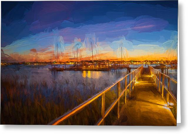 Famous Bridge Greeting Cards - Bridge of Lions St Augustine Florida Painted  Greeting Card by Rich Franco