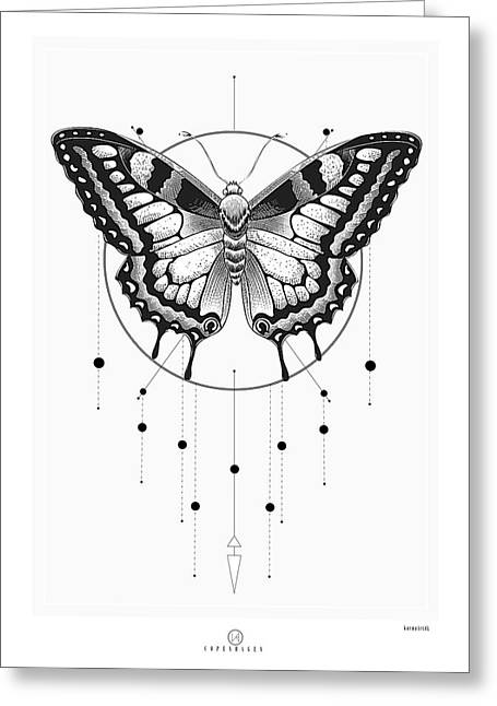 Geometric Image Greeting Cards - Butterfly Greeting Card by KarmaArt CPH