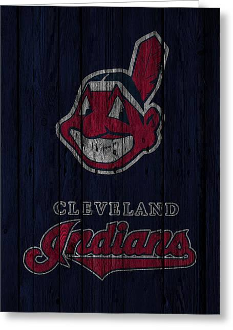 Baseball Field Greeting Cards - Cleveland Indians Greeting Card by Joe Hamilton
