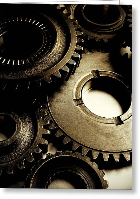Brown Tone Greeting Cards - Cogs Greeting Card by Les Cunliffe