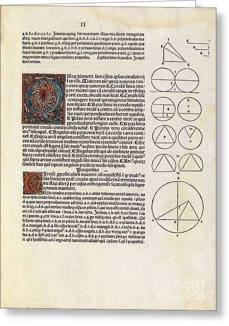 3.14 Greeting Cards - Euclids Elements Of Geometry, 1482 Greeting Card by Royal Astronomical Society