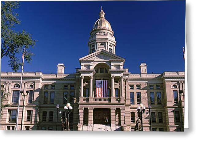 Flag Of Usa Greeting Cards - Facade Of A Government Building Greeting Card by Panoramic Images