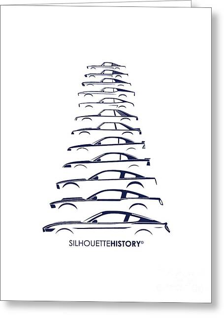 Ford Mustang Greeting Cards - Ford Mustang SilhouetteHistory Greeting Card by Gabor Vida