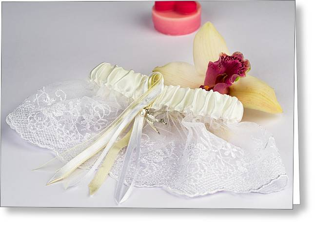 Wedding Garment Greeting Cards - Garter of the bride Greeting Card by Nikita Buida