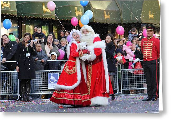 Harrods Greeting Cards - Harrods Christmas Parade Greeting Card by Cray Photography Carol - Freelance Photographer