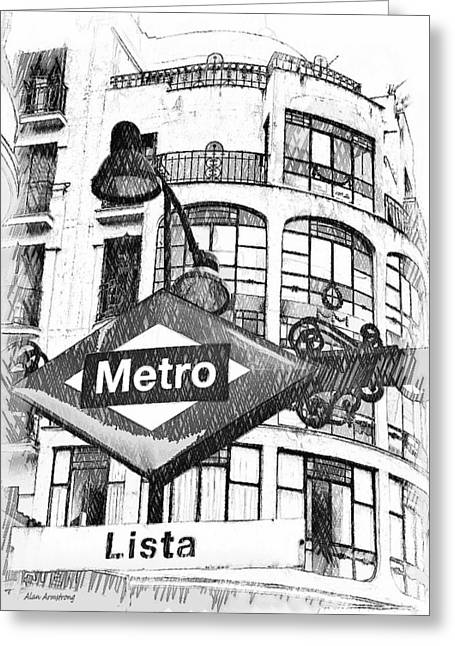Lista Greeting Cards - 18 Lista Metro Madrid Greeting Card by Alan Armstrong